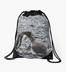 Gentoo penguin and chick at Brown Bluff Drawstring Bag