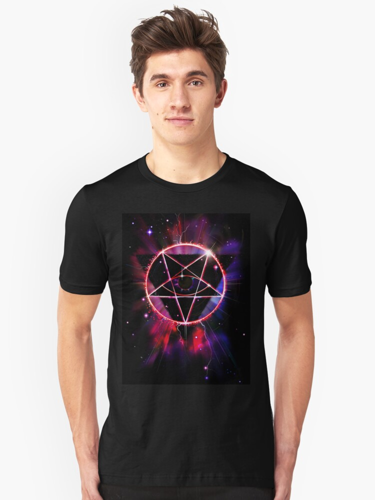 Alternate view of Space Demon 2049 - Evil Synthwave Sigil Slim Fit T-Shirt