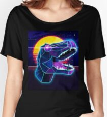 Electric Jurassic Rex - Neon Purple Dinosaur  Women's Relaxed Fit T-Shirt