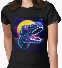 Electric Jurassic Rex - Neon Purple Dinosaur  Women's Fitted T-Shirt