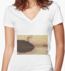The Point, Sunset by Arthur Streeton Women's Fitted V-Neck T-Shirt