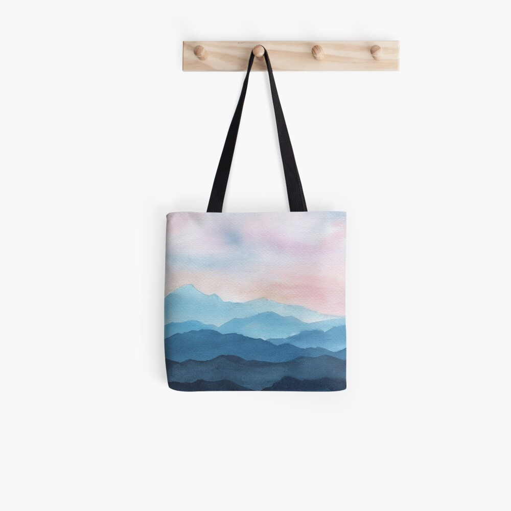 Blue Abstract Mountains Tote Bag