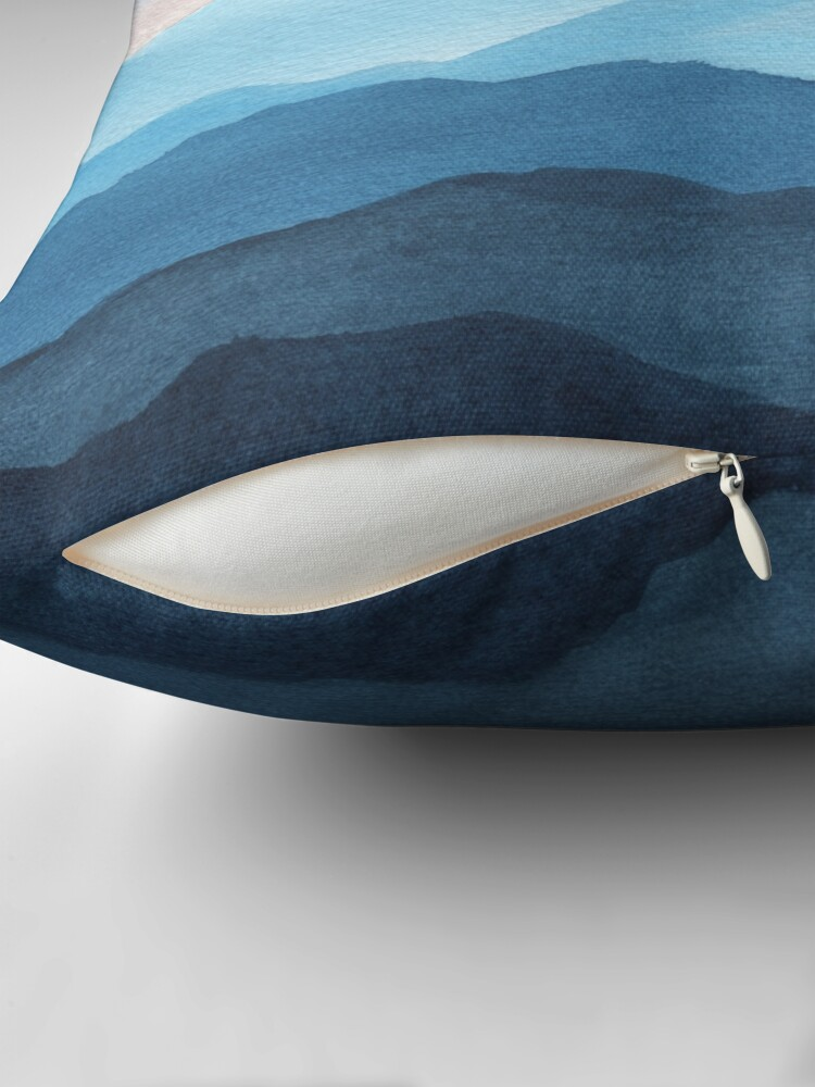 Alternate view of Blue Abstract Mountains Throw Pillow