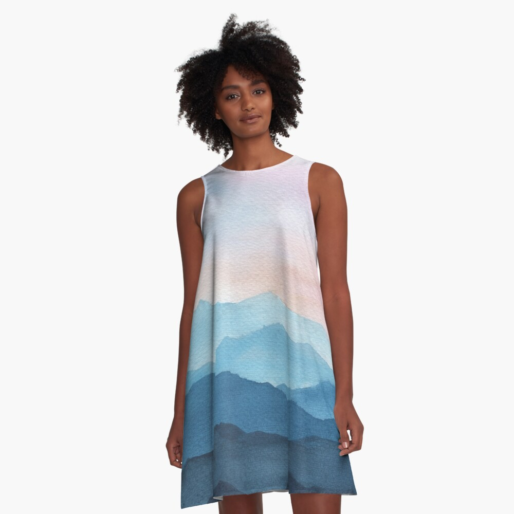 Blue Abstract Mountains A-Line Dress