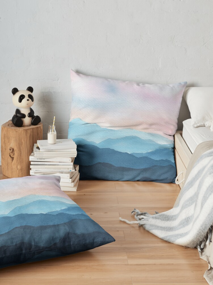 Alternate view of Blue Abstract Mountains Floor Pillow
