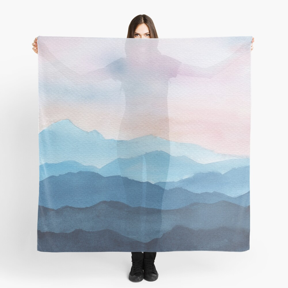 Blue Abstract Mountains Scarf