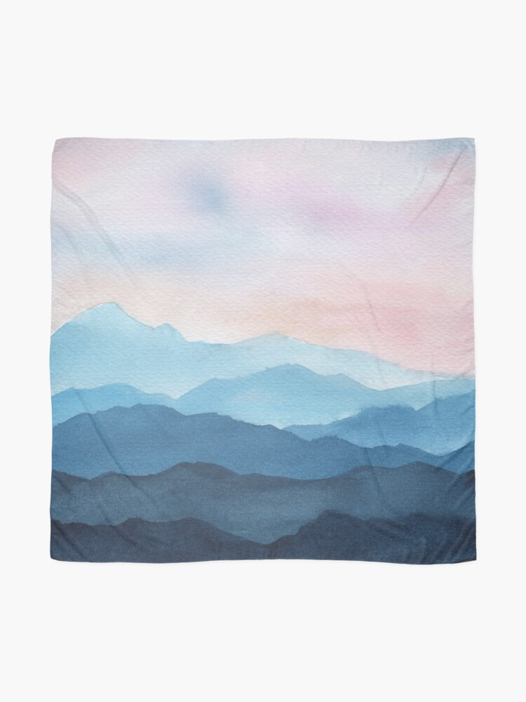 Alternate view of Blue Abstract Mountains Scarf