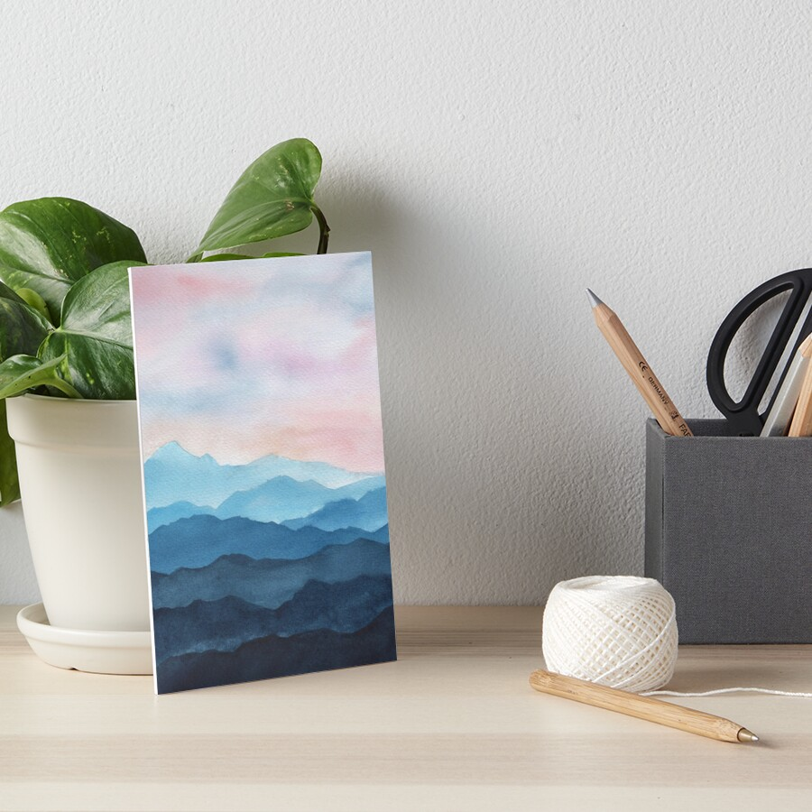 Blue Abstract Mountains Art Board Print