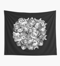 Cute Strange Creepy Weird Cat Pattern Wall Tapestry