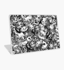 Cute Strange Creepy Weird Cat Pattern Laptop Skin