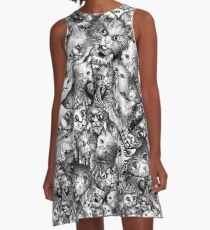 Cute Strange Creepy Weird Cat Pattern A-Line Dress