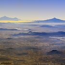 Smog over Mexico City Volcanoes by aguakina
