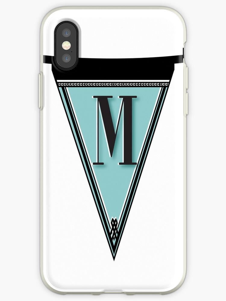 Pennant Deco Blues Monogram  … initial M by CecelyBloom