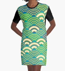 Seigaiha or seigainami abstract scales simple Spring Nature background with japanese circle Graphic T-Shirt Dress