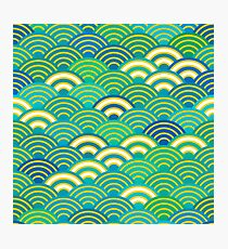 Seigaiha or seigainami abstract scales simple Spring Nature background with japanese circle Photographic Print