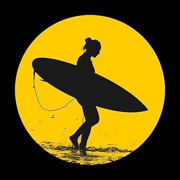 Surfer Girl Silhouette by AaronKinzer