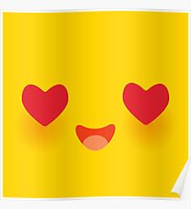 Kawaii funny muzzle in love with pink cheeks and big Red heart eyes Cute Cartoon Face on yellow Poster