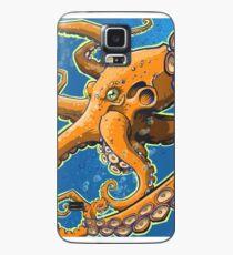 Tangerine Octopus on Blue Background Case/Skin for Samsung Galaxy