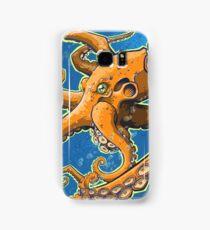 Tangerine Octopus on Blue Background Samsung Galaxy Case/Skin