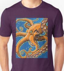Tangerine Octopus on Blue Background Unisex T-Shirt