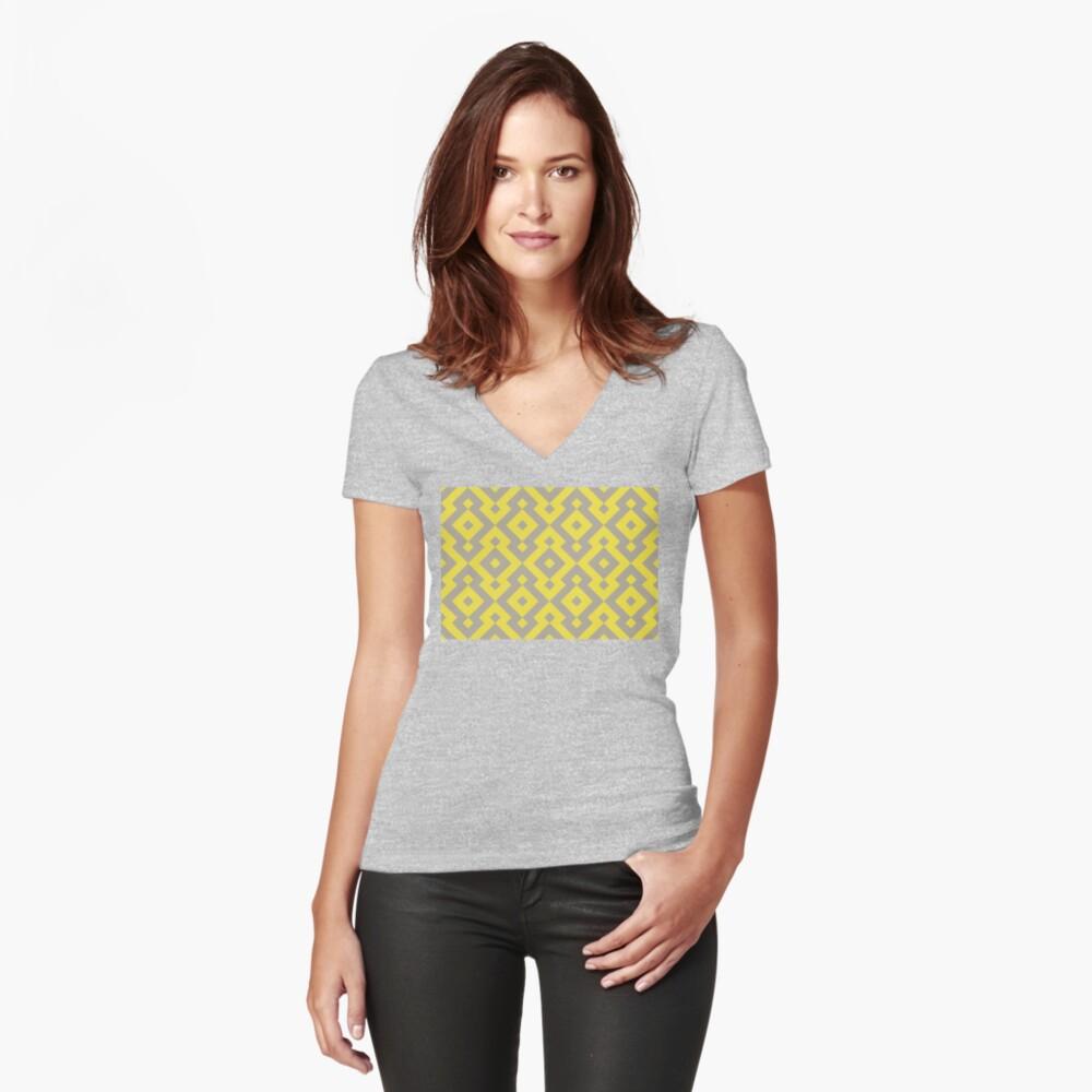Geometric Pattern: Diamond: Yellow Fitted V-Neck T-Shirt
