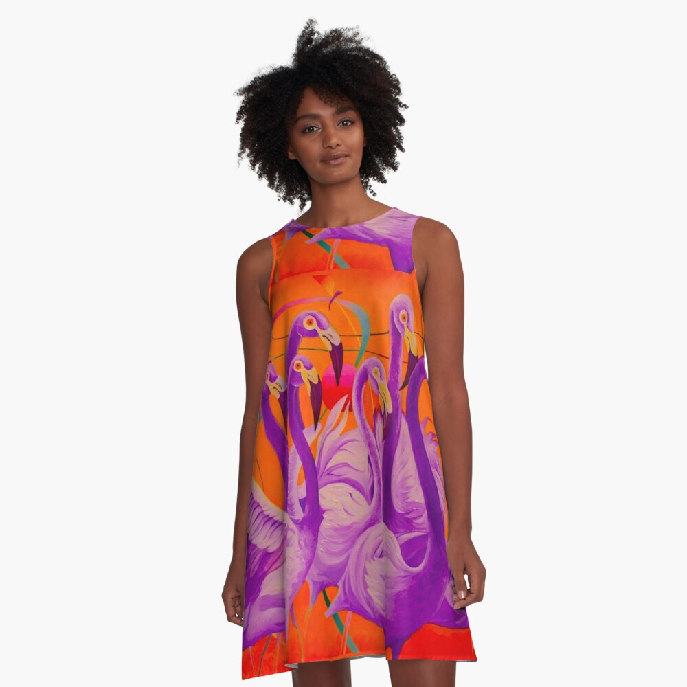 Purple Flamingo A-Line Dress
