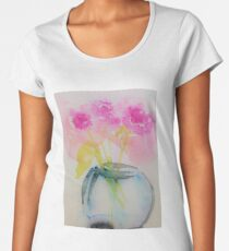 3 pink flowers in the vase Women's Premium T-Shirt