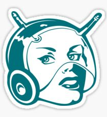 Faces: SciFi lady on a teal and orange pattern background Sticker