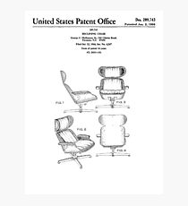 Iconic Eames Recliner/Lounger Lounge Chair Patent Drawings Photographic Print