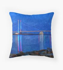 Indian River Inlet Bridge Painterly Full Moon Throw Pillow