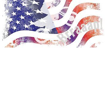 Motocross Dirt Bike American Flag T- Shirt Tee Gift by UrbanHype