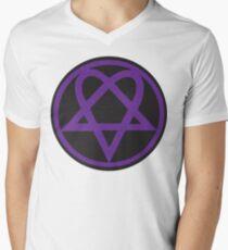 Heartagram - Purple on Black Mens V-Neck T-Shirt