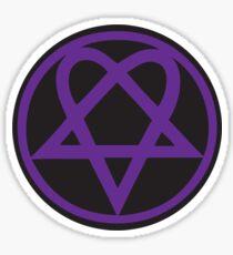 Heartagram - Purple on Black Sticker