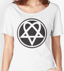 Heartagram - White on Black Women's Relaxed Fit T-Shirt