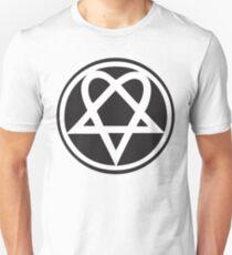 Heartagram - White on Black Unisex T-Shirt