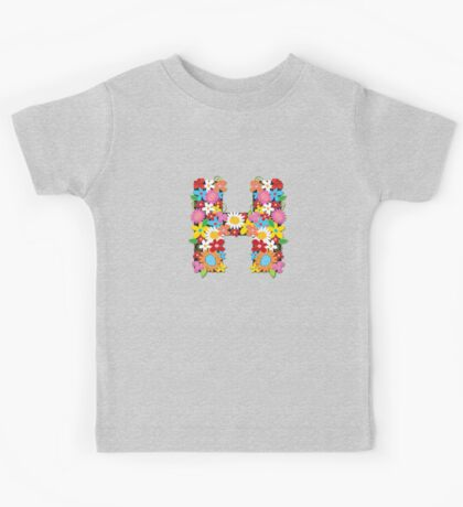"Spring Flowers Alphabet Monogram ""H"" Kids Clothes"