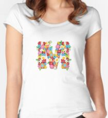 Spring Flowers Alphabet M Monogram Women's Fitted Scoop T-Shirt