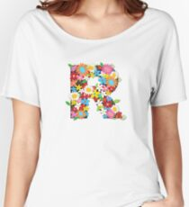 Spring Flowers Alphabet R Monogram Women's Relaxed Fit T-Shirt