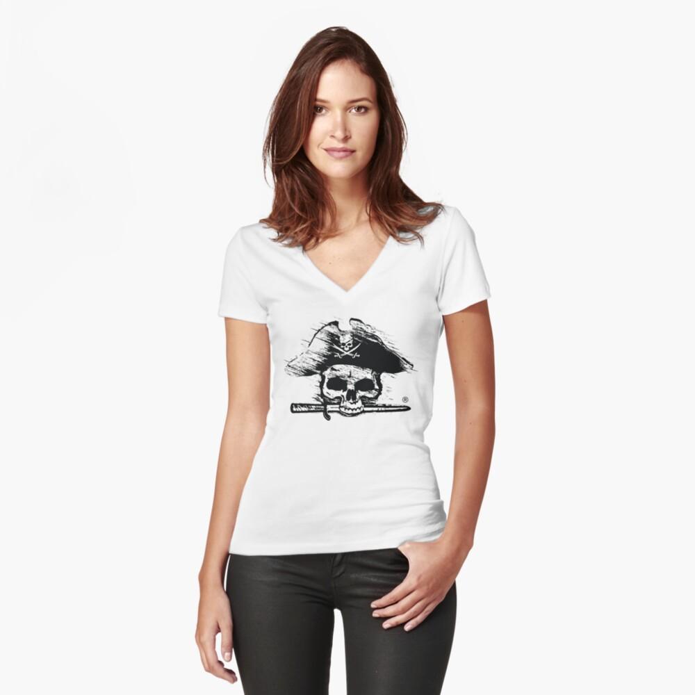 Pirates Adventure Mallorca Merchandise  Skull White Pattern Women's Fitted V-Neck T-Shirt Front