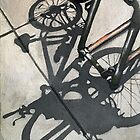 Bicycle shadows - city street scene realistic urban still life original oil painting by LindaAppleArt