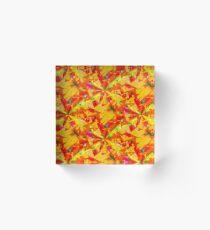 Spamming Bright Orange Confetti Acrylic Block