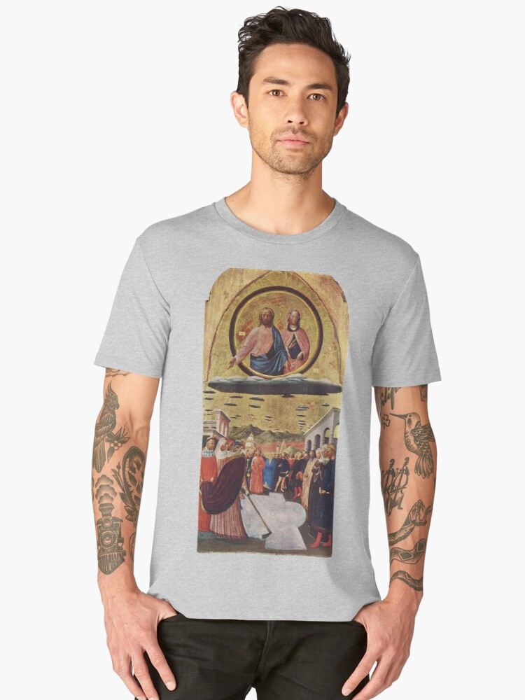 UFOs, in Ancient Art, The Miracle of the Snow, by Masolino da Panicale. Men's Premium T-Shirt Front