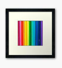 Colour Block Stripes Crayon Melt Design Rainbow Framed Print
