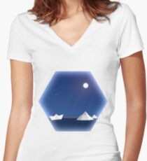 Geometric Antarctic Nights Women's Fitted V-Neck T-Shirt