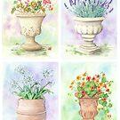 Four Garden Urns (watercolour on paper) by Lynne Henderson