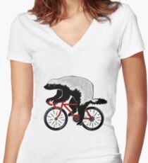 Honey Badger On A Bicycle Women's Fitted V-Neck T-Shirt
