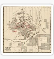 Vintage Map of Butte Montana (1909) Sticker