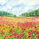 Poppy Field (watercolour on paper) by Lynne Henderson