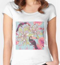 Seamless floral background with petunia toucan Women's Fitted Scoop T-Shirt