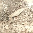 Old Ancrum Pastoral (pencil, ink and wash on paper) by Lynne Henderson